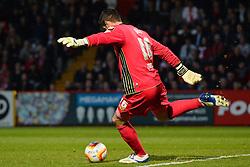 Stevenage's goalkeeper Chris Day clears the ball  - Photo mandatory by-line: Mitchell Gunn/JMP - Tel: Mobile: 07966 386802 01/04/2014 - SPORT - FOOTBALL - Broadhall Way - Stevenage - Stevenage v Wolverhampton Wanderers - League One