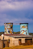 Soweto (South Western Townships), Johannesburg, South Africa. Orlando Towers (bungee jump at decommissioned coal fired power station in background)