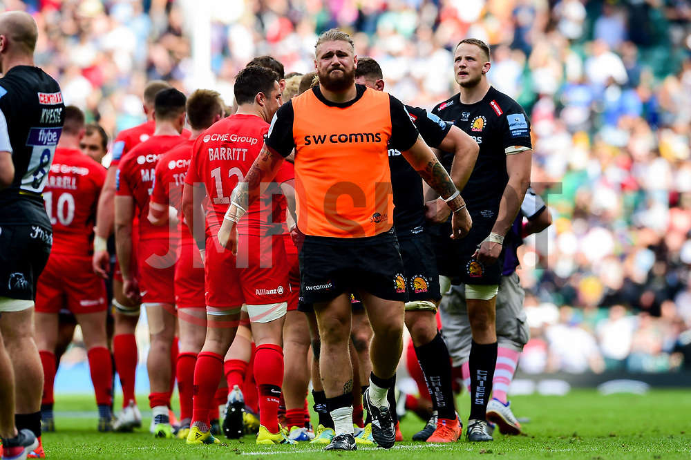 Harry Williams of Exeter Chiefs look dejected after the final whistle of the match - Mandatory by-line: Ryan Hiscott/JMP - 01/06/2019 - RUGBY - Twickenham Stadium - London, England - Exeter Chiefs v Saracens - Gallagher Premiership Rugby Final
