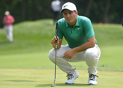 August 12, 2018 - St. Louis, Missouri, U.S. - ST. LOUIS, MO - AUGUST 12: Francesco Molinari lines up his putt on the #1 green during the final round of the PGA Championship on August 12, 2018, at Bellerive Country Club, St. Louis, MO.  (Photo by Keith Gillett/Icon Sportswire) (Credit Image: © Keith Gillett/Icon SMI via ZUMA Press)