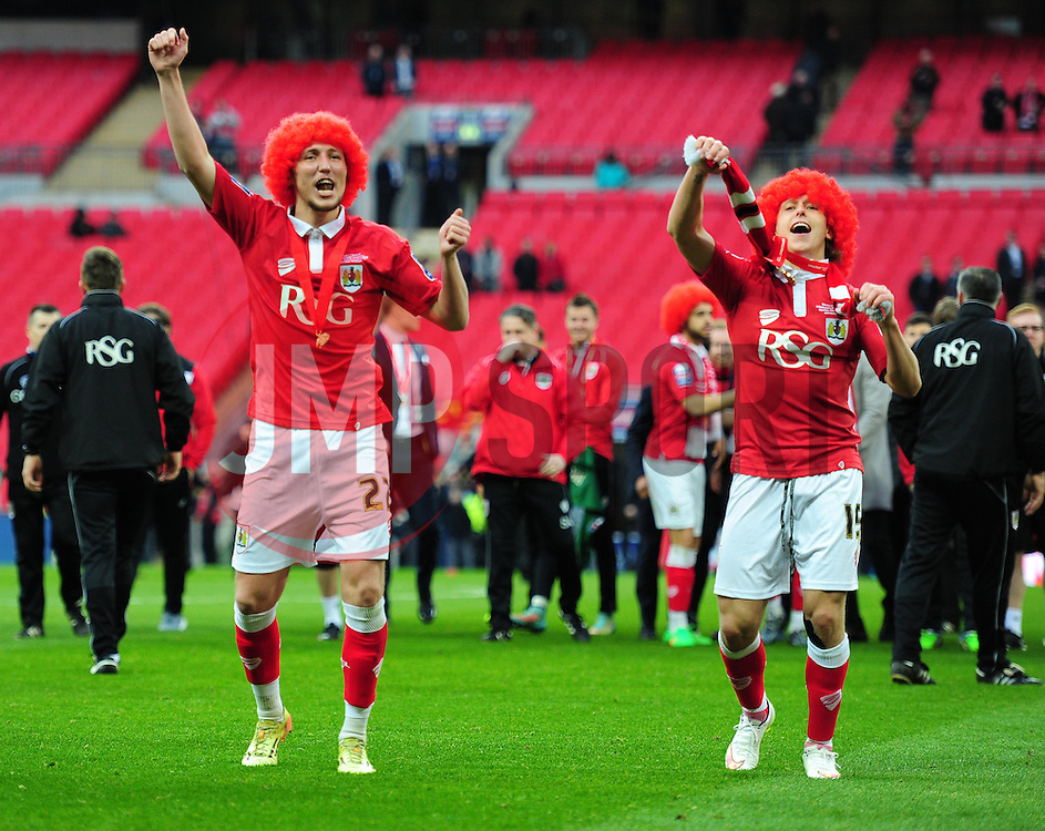 Bristol City's Luke Ayling celebrates at full time with Bristol City's Luke Freeman - Photo mandatory by-line: Alex James/JMP - Mobile: 07966 386802 - 22/03/2015 - SPORT - Football - London - Wembley Stadium - Bristol City v Walsall - Johnstone Paint Trophy Final