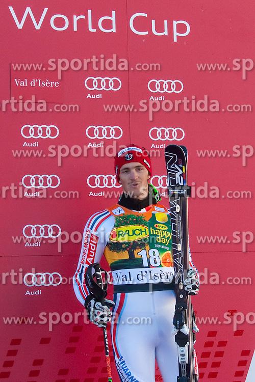 12.12.2010, The Bellevarde race piste, Val D Isere, FRA, FIS World Cup Ski Alpin, Men, Slalom, im Bild  Steve Missillier (FRA) 3rd at the presentation ceremony for the alpine skiing world cup slalom race on the Bellevarde race piste Val D'Isere. EXPA Pictures © 2010, PhotoCredit: EXPA/ M. Gunn