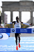Eliud Kipchoge (KEN) celebrates after winning the 45th Berlin Marathon in a world best 2:01.39 in Berlin, Germany, Sunday, Sept. 16, 2018.. Kipchoge  broke the previous record by 1:18 set in 2014  by Dennis Kimetto. It is the largest single improvement on the marathon world record since Derek Clayton improved the mark by 2:23 in 1967. (Jiro Mochizuki/Image of Sport)