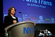 Laura Bucko, VP and MCC  Director of Communications, speaking at the Manhattan Chamber of Commerce's Transportation Transformation Global Summit at NYIT in New York on April 26, 2012.