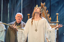 © Licensed to London News Pictures. 16/10/2013. EMBARGOED until 19.00 hrs 17/10/2013. The Royal Shakespeare Company presents Richard II, starring David Tennant as Richard.  Richard II is the first production in a new cycle of Shakespeare's History plays, directed by RSC Artistic Director Gregory Doran, to be performed over the coming seasons. Picture features Oliver Ford Davies (York) & David Tennant as Richard. Photo credit: Tony Nandi/LNP.