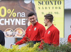 BRATISLAVA, SLOVAKIA - Thursday, October 10, 2019: Wales' Kieffer Moore during a pre-match team walk near the Hotel NH Bratislava Gate One ahead of the UEFA Euro 2020 Qualifying Group E match between Slovakia and Wales. (Pic by David Rawcliffe/Propaganda)