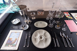 © Licensed to London News Pictures. 31/01/2018. London, UK.  Tablewear for grand luxe apartments and first class on the Normandie ship, 1934 is on display as part of the Ocean Liners: Speed And Style exhibition at the V & A museum. The exhibits will re-imagine the golden age of ocean travel, exploring the design and cultural impact of the ocean liner on an international scale. Photo credit: Ray Tang/LNP