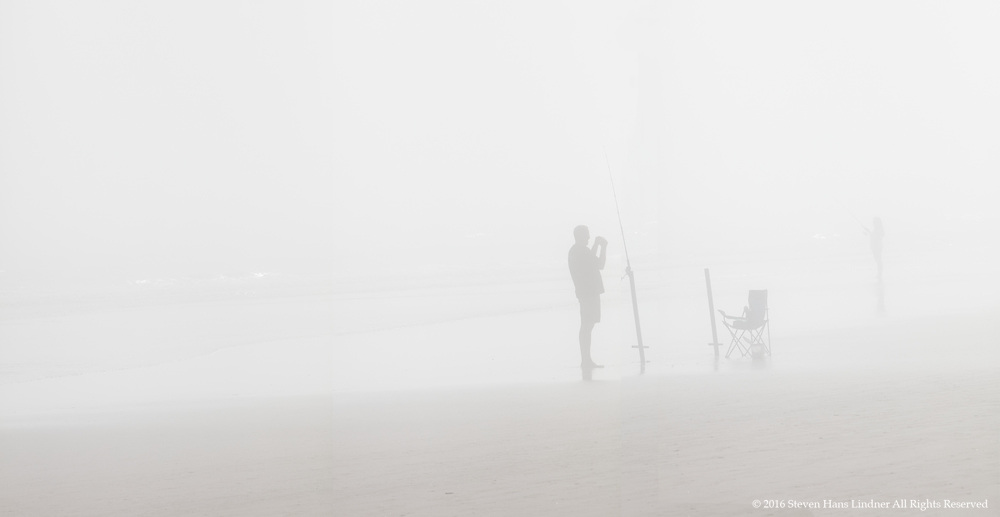People Fishing in Heavy Fog