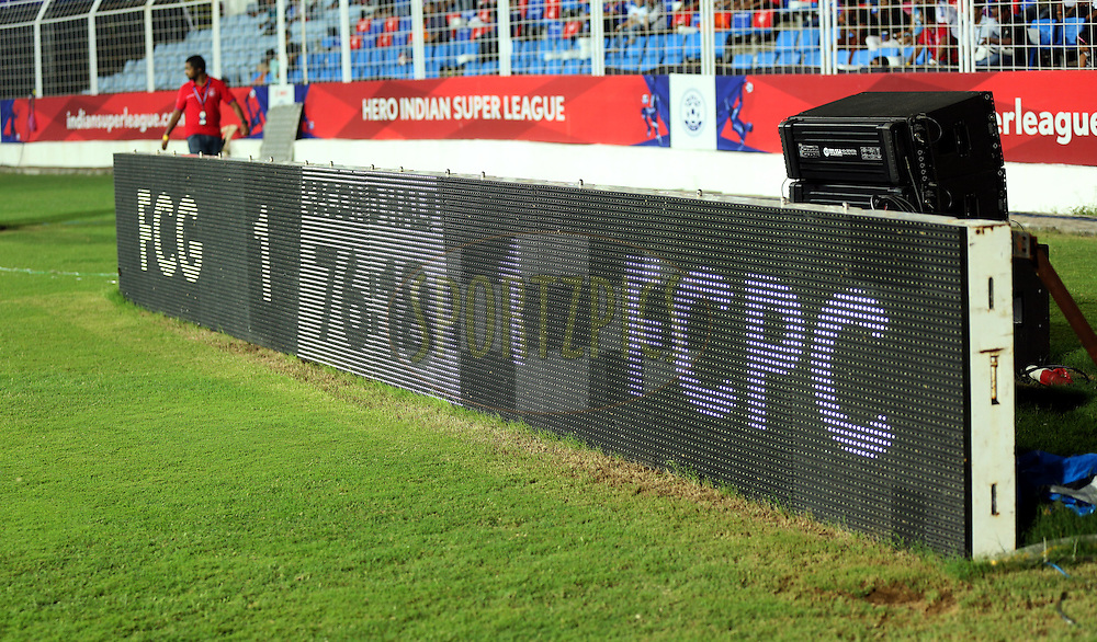 Score Board during match 25 of the Indian Super League (ISL) season 2  between FC Goa and FC Pune City held at the Jawaharlal Nehru Stadium, Fatorda, Goa, India on the 30th October 2015.<br /> <br /> Photo by Sandeep Shetty / ISL/ SPORTZPICS