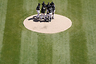 CHICAGO - APRIL 25:  Pitching coach Don Cooper #99 and the rest of the staring infield of the Chicago White Sox gather on the pitching mound to talk to James Shields #33 during the game against the Seattle Mariners on April 25, 2018 at Guaranteed Rate Field in Chicago, Illinois.  (Photo by Ron Vesely)   Subject:   Don Cooper; James Shields