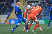 Ollie Rathbone wins the ball during the EFL Sky Bet League 1 match between Rochdale and Shrewsbury Town at Spotland, Rochdale, England on 9 March 2019.