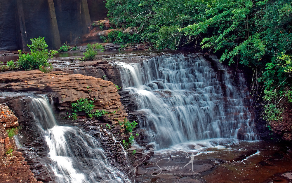 Water crashes over the rocks at DeSoto Falls Aug. 5, 2010 in Mentone, Ala. The area features a 104-foot waterfall and is part of DeSoto State Park, which was created by the Civilian Conservation Corps in the 1930s atop scenic Lookout Mountain in northeast Alabama. (Photo by Carmen K. Sisson/Cloudybright)