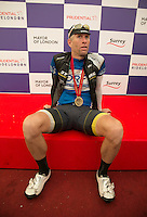 Ian Rees first man across the line in the Prudentilal RideLondon-Surrey 100<br /> Prudential RideLondon, the world's greatest festival of cycling, involving 70,000+ cyclists – from Olympic champions to a free family fun ride - riding in five events over closed roads in London and Surrey over the weekend of 9th and 10th August. <br /> <br /> Photo: SCOTT HEAVEY for Prudential RideLondon<br /> <br /> See www.PrudentialRideLondon.co.uk for more.<br /> <br /> For further information: Penny Dain 07799 170433<br /> pennyd@ridelondon.co.uk