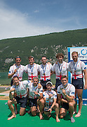 Aiguebelette, FRANCE  Bronze medallist, GBR M8+ left to right, Matt LANGRIDE, James FOAD, Nathaniel REILLY-O'DONNELL, Peter REED, Henry FIELDMAN, Alan SINCLAIR, Matt TARRANT, Will SATCH and Scott DURANT, at the 2014 FISA World Cup II. 14:45:49  Sunday  22/06/2014. [Mandatory Credit; Peter Spurrier/Intersport-images]