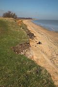 Coastal erosion of cliffs, Easton Bavents, Suffolk, England