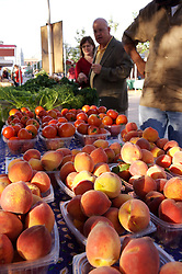 Stock photo of shoppers browsing containers of peaches and tomatoes at the organic market in the park