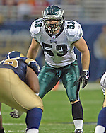 Philadelphia Eagles linebacker (53) Mark Simoneau stares into the St. Louis Rams back field, at the Edward Jones Dome in St. Louis, Missouri, December 18, 2005.  The Eagles beat the Rams 17-16.