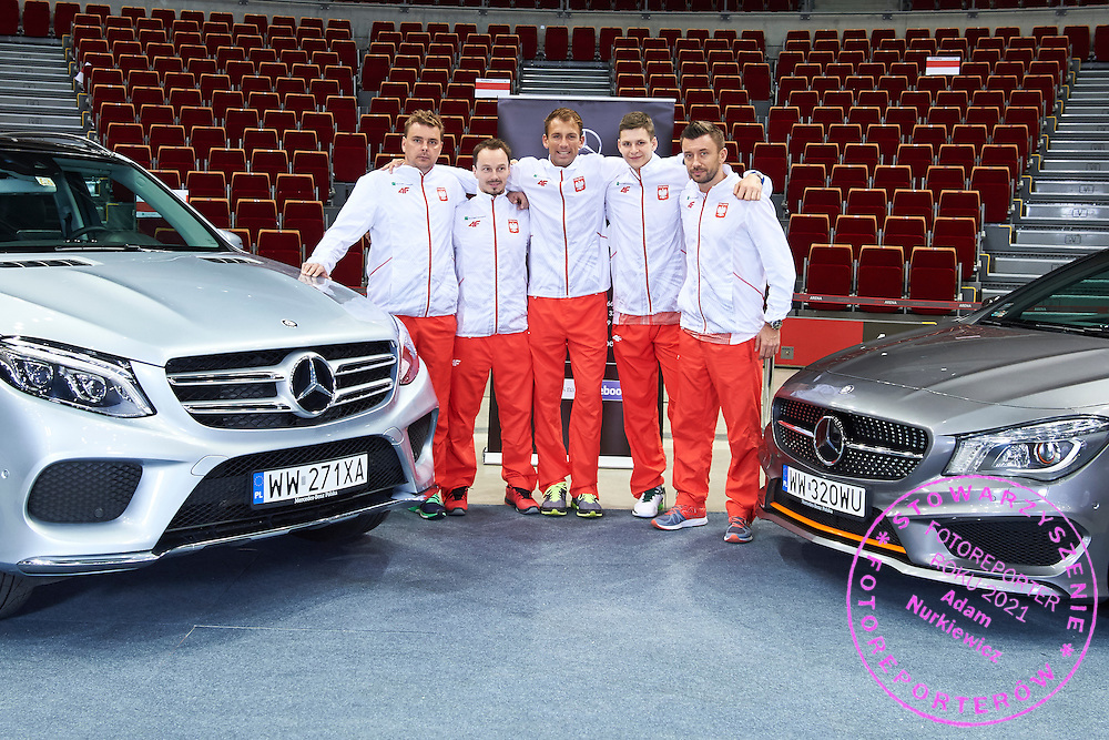 GDANSK, POLAND - 2016 MARCH 05: (L-R) Marcin Matkowski and Radoslaw Szymanik - captain national team and Lukasz Kubot and Hubert Hurkacz and Michal Przysiezny all from Poland pose with Mercedes Benz BMG Goworowski during the Davis Cup / World Group 1st round tennis match between Poland and Argentina at Ergo Arena on March 5, 2016 in Gdansk, Poland<br /> <br /> Picture also available in RAW (NEF) or TIFF format on special request.<br /> <br /> Any editorial, commercial or promotional use requires written permission.<br /> <br /> Mandatory credit:<br /> Photo by &copy; Adam Nurkiewicz / Mediasport