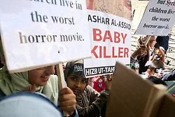 CAPTION CORRECTION DATE © Licensed to London News Pictures. 16/06/2012. London,UK. Syrian women and children protest against Syrian President Bashar al-Assad in front of the Syrian embassy in London today 16 June 2012 .  Photo credit : Thomas Campean/LNP