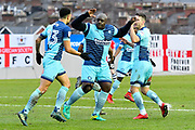 Goal celebration - Nathan Tyson (23) of Wycombe Wanderers, Adebayo Akinfenwa (20) of Wycombe Wanderers and Matthew Bloomfield (10) of Wycombe Wanderers celebrate the equalising goal scored by Marcus Bean (8) of Wycombe Wanderers to make the score 1-1 during the EFL Sky Bet League 2 match between Exeter City and Wycombe Wanderers at St James' Park, Exeter, England on 10 February 2018. Picture by Graham Hunt.