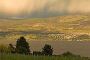 Spring rainstorm over Quail's Gate, Okanagan, British Columbia, Canada