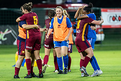 Players of Cardiff celebrating their victory after football match between ZNK Pomurje and Cardiff Met in 1st Round of WUCL qualifying 2019/20, on Avgust 7, 2019 in Fazanerija, Murska Sobota, Slovenia. Photo by Blaž Weindorfer / Sportida