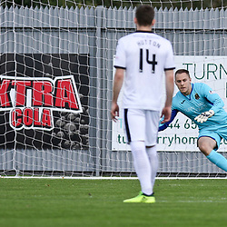 Callum Morris puts the penalty away  during the Dumbarton v Connah's Quay Nomads Irn Bru cup second round 2 September 2017<br /> <br /> <br /> <br /> <br /> (c) Andy Scott | SportPix.org.uk