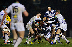 Bristol Full Back (#15) Jack Tovey is tackled by Leeds Carnegie replacement (#21) James Doherty during the second half of the match - Photo mandatory by-line: Rogan Thomson/JMP - Tel: Mobile: 07966 386802 25/01/2013 - SPORT - RUGBY - Memorial Stadium - Bristol. Bristol v Leeds Carnegie - RFU Championship.