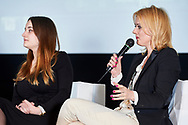 """Warsaw, Poland - 2017 April 07: (R) Anna Wegrzyn - founder of the portal """"Changes in life"""", coach ICC speaks while The Day of Health - science conference in the National Library on April 07, 2017 in Warsaw, Poland.<br /> <br /> Mandatory credit:<br /> Photo by © © Adam Nurkiewicz / Mediasport / Mediasport<br /> <br /> Picture also available in RAW (NEF) or TIFF format on special request.<br /> <br /> Any editorial, commercial or promotional use requires written permission from the author of image.<br /> <br /> Adam Nurkiewicz declares that he has no rights to the image of people at the photographs of his authorship."""