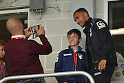 AFC Bournemouth's striker Callum Wilson missing the game due to injury during the Barclays Premier League match between Bournemouth and Watford at the Goldsands Stadium, Bournemouth, England on 3 October 2015. Photo by Mark Davies.
