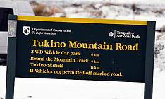 Waiouru-Snow blocks road to Tukino Ski Field trapping skiers
