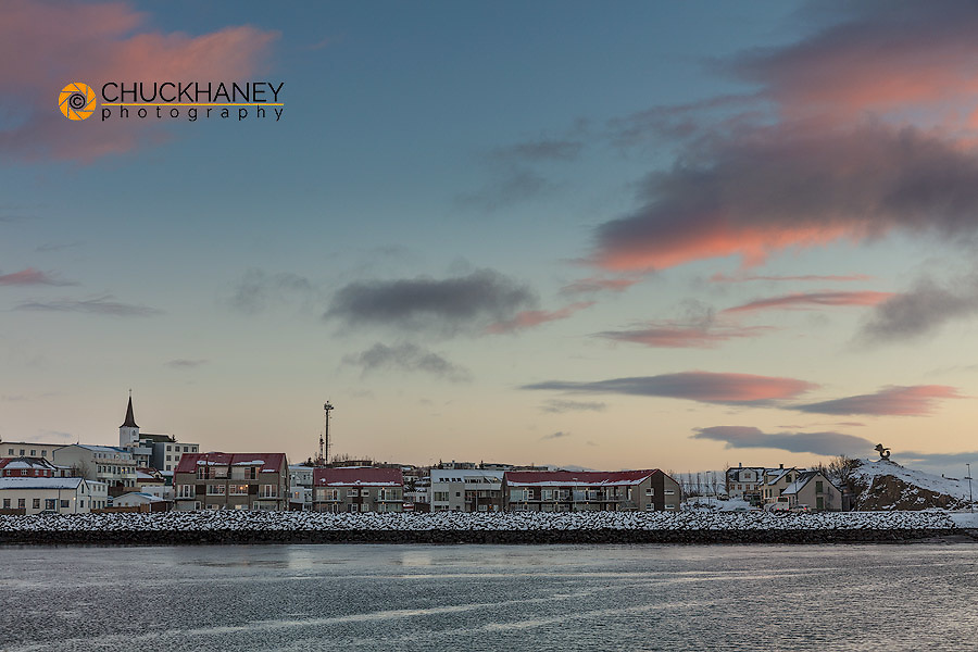 Sunrise clouds over the small town of Borgarnes in western Iceland