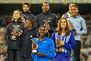 Winners of the 2019 Diamond League Trophies, Dina Asher-Smith (Great Britain) Women's 100m, Malaika Mihambo (Germany) Women's Long Jump, Ajee Wilson (USA) Women's 800m, Orlando Ortega (Spain), Men's 110m Hurdles, Danielle Williams (Jamaica) Women's 100m Hurdles, Mariya Lasitskene (Authorised Neutral Athlete) Women's High Jump, Katerina Stefanidi (Greece) Women's Pole Vault, at the IAAF Diamond League event at the King Baudouin Stadium, Brussels, Belgium on 6 September 2019.