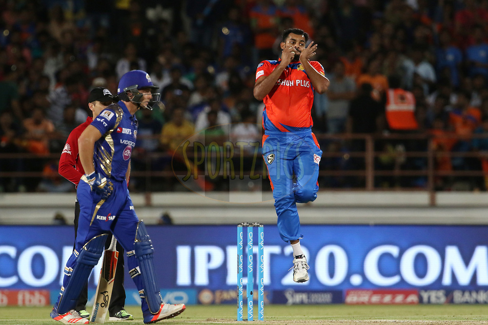 Ankit Soni of the Gujarat Lions bowls during match 35 of the Vivo 2017 Indian Premier League between the Gujarat Lions and the Mumbai Indians  held at the Saurashtra Cricket Association Stadium in Rajkot, India on the 29th April 2017<br /> <br /> Photo by Vipin Pawar - Sportzpics - IPL