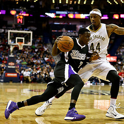 Mar 7, 2016; New Orleans, LA, USA; Sacramento Kings guard Darren Collison (7) drives past New Orleans Pelicans forward Dante Cunningham (44) during the second quarter of a game at the Smoothie King Center. Mandatory Credit: Derick E. Hingle-USA TODAY Sports