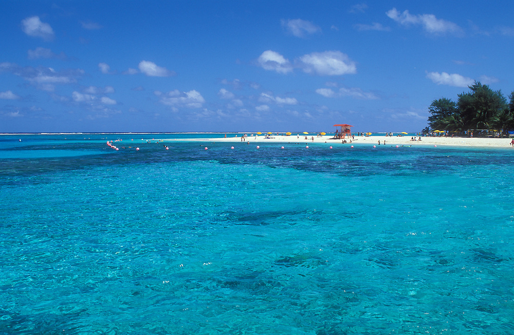 Saipan, Northern Marianas Islands, Micronesia: turquoise blue water of Tanapag lagoon and the beach at Managaha Island.