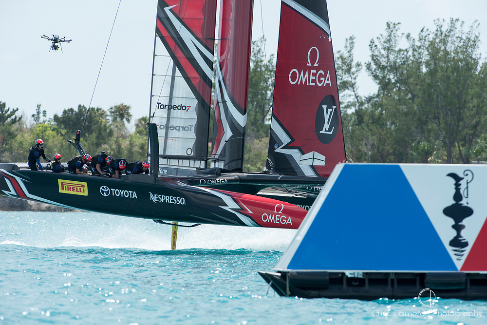 The Great Sound, Bermuda, 17th June Emirates Team New Zealand cross the finish to beat  Defender, Oracle Team USA in race two of the America's Cup.