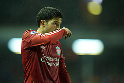 LIVERPOOL, ENGLAND - Wednesday, September 22, 2010: Liverpool's Dani Pacheco in action against Northampton Town during the Football League Cup 3rd Round match at Anfield. (Photo by David Rawcliffe/Propaganda)