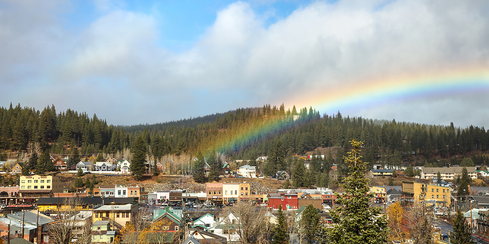 """Rainbow Above Downtown Truckee 1"" - Panoramic photograph of historic Downtown Truckee, California with a big rainbow above it."