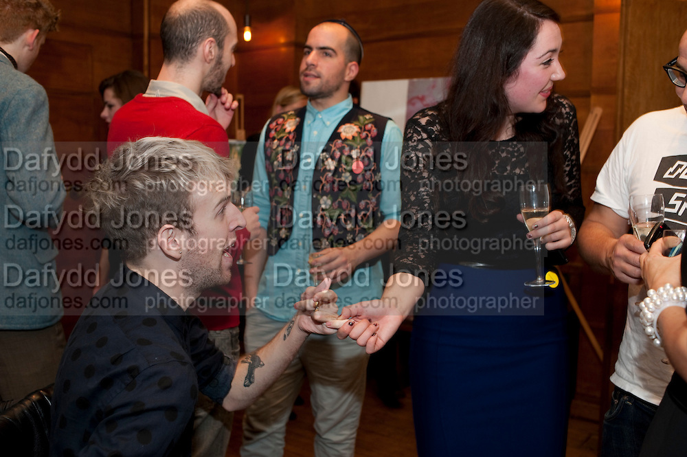 OLIVER HEMSLEY,; KATY DAWE; ,  Art Against Knives charity auction , Town Hall Hotel in Bethnal Green, London. 15 December 2011