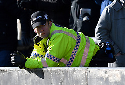 A policeman in the stands
