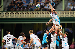 March 23, 2019 - Sydney, NSW, U.S. - SYDNEY, NSW - MARCH 23: Crusaders player Quinten Strange (4) and Waratahs player Ned Hanigan (6) go up for the ball at round 6 of Super Rugby between NSW Waratahs and Crusaders on March 23, 2019 at The Sydney Cricket Ground, NSW. (Photo by Speed Media/Icon Sportswire) (Credit Image: © Speed Media/Icon SMI via ZUMA Press)