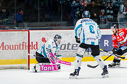 24.02.2019, Ice Rink, Znojmo, CZE, EBEL, HC Orli Znojmo vs EHC Liwest Black Wings Linz, Qualifikationsrunde, 49. Runde, im Bild v.l. Michael Ouzas (EHC Liwest Black Wings Linz) Jonathan Daversa (EHC Liwest Black Wings Linz) C.J. Stretch (HC Orli Znojmo) // during the Erste Bank Eishockey League 49th round match between HC Orli Znojmo and EHC Liwest Black Wings Linz at the Ice Rink in Znojmo, Czechia on 2019/02/24. EXPA Pictures © 2019, PhotoCredit: EXPA/ Rostislav Pfeffer
