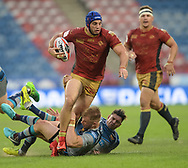 Aaron Murphy & Danny Brough of Huddersfield Giants can't stop Benjamin Jullien of Catalans Dragons during the Ladbrokes Challenge Cup match at the John Smiths Stadium, Huddersfield<br /> Picture by Richard Land/Focus Images Ltd +44 7713 507003<br /> 31/05/2018