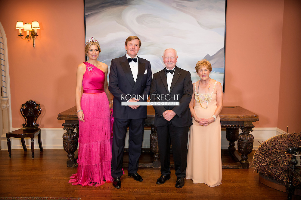 King Willem-Alexander, Queen Maxima, Governor General Johnston and his wife pose for an official picture before the state banquet at Rideau Hall in Ottawa, Canada, 27 May 2015. The King and Queen of The Netherlands bring an state visit from 27 till 29 may to Canada. COPYRIGHT ROBIN UTRECHT<br /> King Willem-Alexander and Queen Maxima of The Netherlands attend an state banquet offered by governor general Johnston at Rideau Hall in Ottawa, Canada, 27 May 2015. The King and Queen of The Netherlands bring an state visit from 27 till 29 may to Canada. COPYRIGHT ROBIN UTRECHT