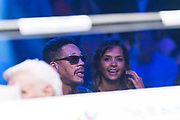 Joey star french singer and Karine Le Marchand french tv animator during the Boxing event, La Conquete Tony Yoka, round 4, heavyweight boxing bout between Tony Yoka (FRA) and Cyril Leonet (FRA) on April 7, 2018 at Dome de Paris - Palais des Sports in Paris, France - Photo Pierre Charlier / ProSportsImages / DPPI