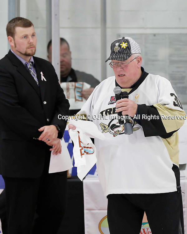TRENTON, ON  - MAY 6,  2017: Canadian Junior Hockey League, Central Canadian Jr. &quot;A&quot; Championship. The Dudley Hewitt Cup Championship Game between The Trenton Golden Hawks and The Georgetown Raiders. Quinte West Mayor Jim Harrison during post game celebrations. <br /> (Photo by Amy Deroche / OJHL Images)