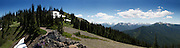 The view is spectacular, 270 degrees, at the top of Blue Mountain in Olympic National Park. You can see the Olympic range, Port Angeles, Sequim, Canada, the San Juan Islands and many other islands, along with Mt. Baker. <br />