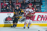 REGINA, SK - MAY 22: Olivier Galipeau #26 of Acadie-Bathurst Titan checks Robert Thomas #27 of Hamilton Bulldogs at the Brandt Centre on May 22, 2018 in Regina, Canada. (Photo by Marissa Baecker/CHL Images)