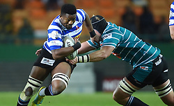 Cape Town-180921- Wastern Province player Sikhumbuzo Notshe tackled by Pieter Jansen  van Vuuren of Tafel lager Griquas in the Currie Cup Game played at Newlands Stadium .Photographs:Phando Jikelo/African News Agency/ANA